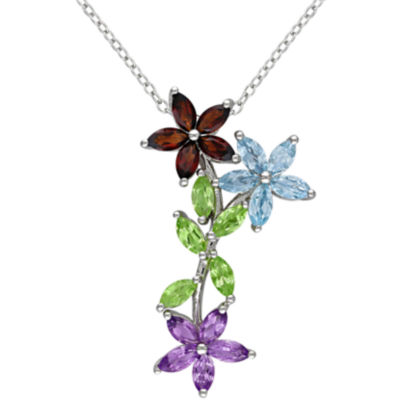 Sterling Silver Multi-Gemstone 3-Flower Pendant Necklace