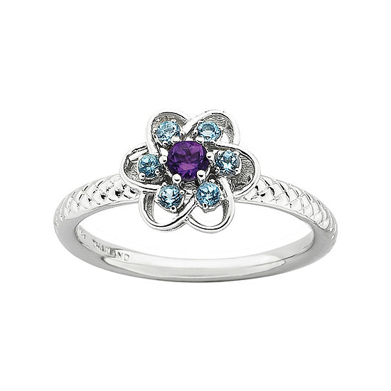 Womens 1/2 CT. T.W. Genuine Multi Color Topaz Sterling Silver Flower Stackable Ring
