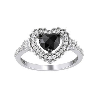 Midnight Black Diamond 1 CT. T.W. Black & White Diamond Heart Ring In 10K White Gold