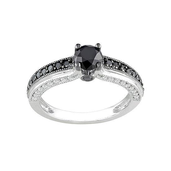 Midnight Black Diamond 1¼ CT. T.W. Black & White Bridal Ring In 10K White Gold