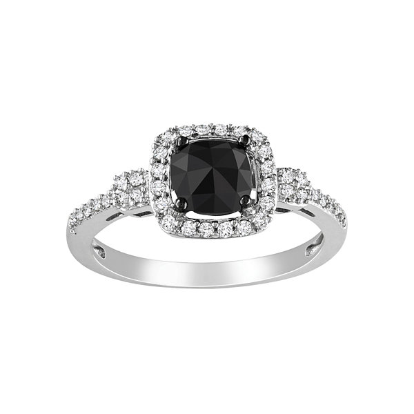 Midnight Black Diamond  1 CT. T.W. Black & White Diamond 14K White Gold Bridal Ring
