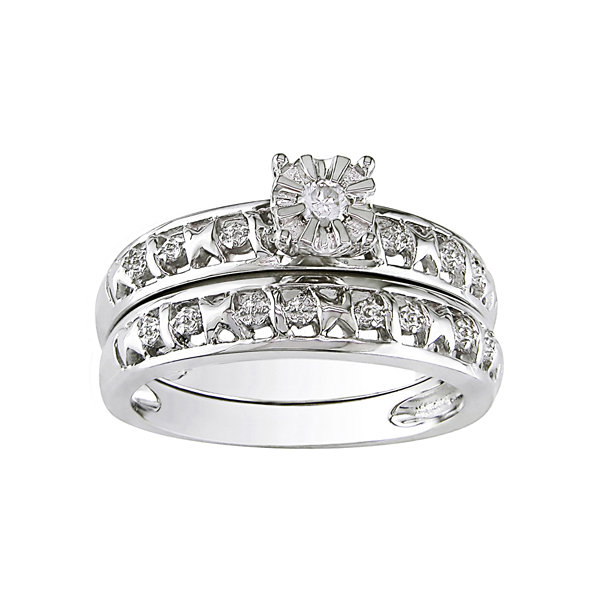 Diamond-Accent Bridal Ring Set Sterling Silver