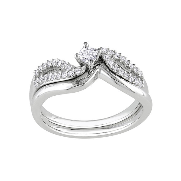 1/4 CT. T.W. Diamond Bridal Ring Set-Silver