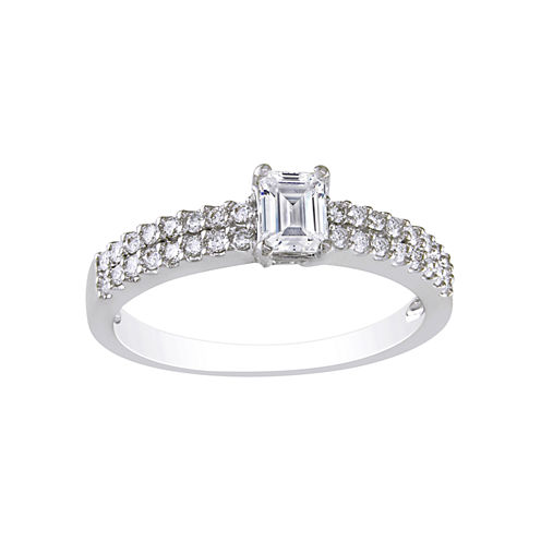 3/4 CT. T.W. Emerald-Cut Diamond Bridal Ring 14K White Gold