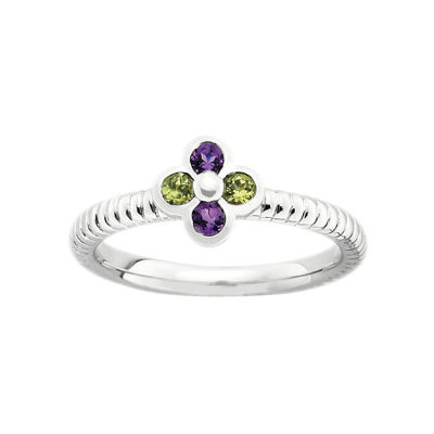 Multi-Gemstone Flower Stackable Ring