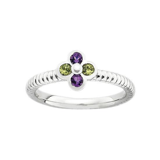 Multi-Gemstone Flower Stackable Ring