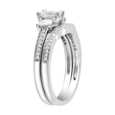 1 CT. T.W. Emerald-Cut Bridal Set 14K White Gold