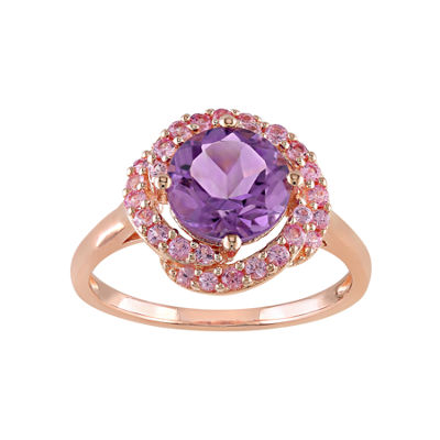 Fine Jewelry Genuine Amethyst and Pink Sapphire Ring