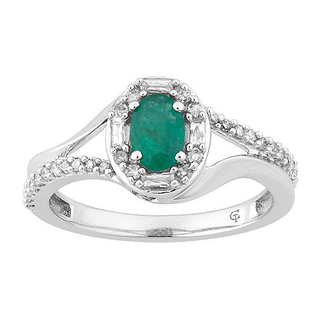 Womens 1/4 CT. T.W. Genuine Green Emerald 10K White Gold Cocktail Ring, 8