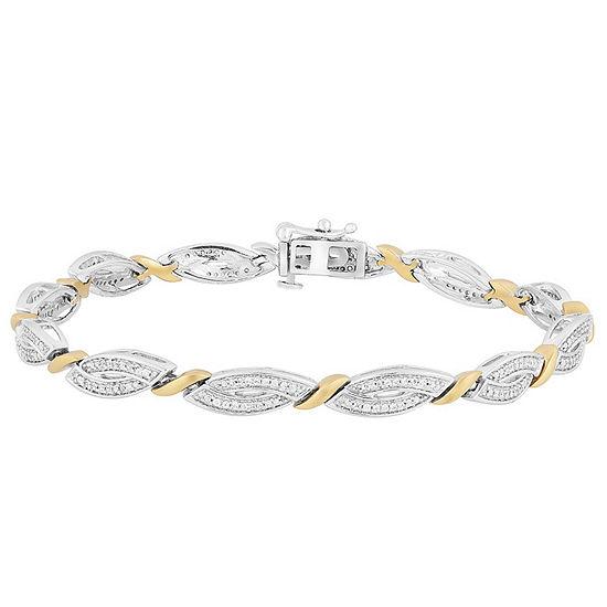 1/2 CT. T.W. Genuine White Diamond 14K Gold Over Silver & Sterling Silver Tennis Bracelet