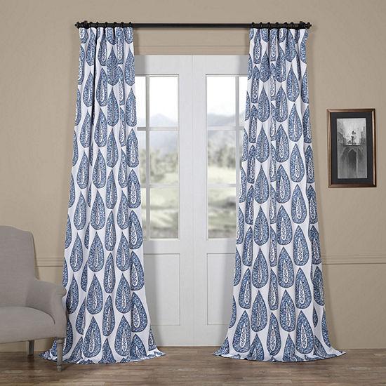 Exclusive Fabrics & Furnishing Medallion Blackout Rod-Pocket/Back-Tab Curtain Panel