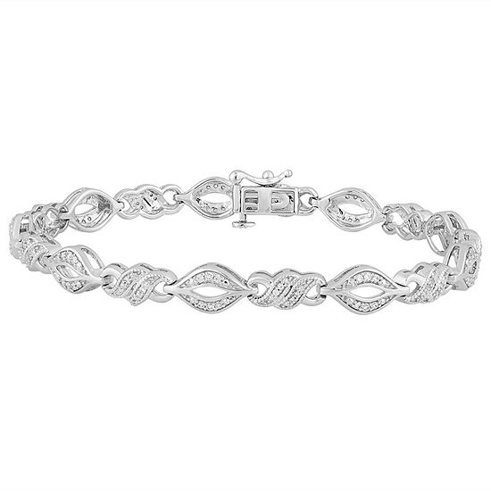 1/2 CT. T.W. Genuine White Diamond Sterling Silver Tennis Bracelet