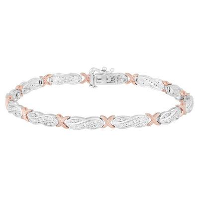 1/2 CT. T.W. Genuine White Diamond 14K Rose Gold Over Silver & Sterling Silver Tennis Bracelet
