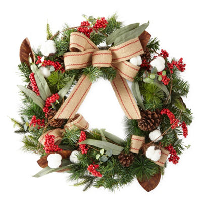 North Pole Trading Co. Burlap Cotton Christmas Wreath