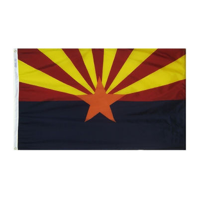 Arizona State Flag 3x5 ft. Nylon SolarGuard Nyl-Glo 100% Made in USA to Official State Design Specifications by Annin Flagmakers.  Model 140260