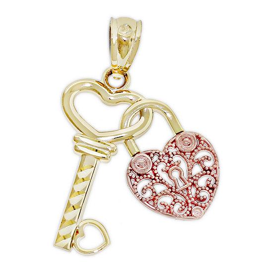 Womens 14K Two Tone Gold Keys Pendant