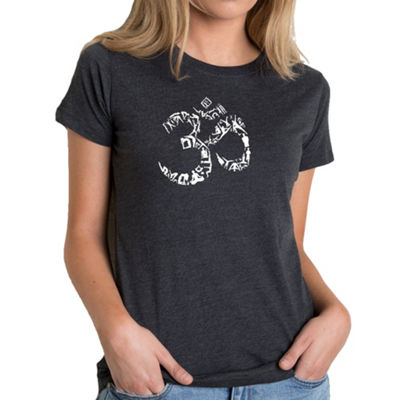 Los Angeles Pop Art Women's Premium Blend Word ArtT-shirt - THE OM SYMBOL OUT OF YOGA POSES