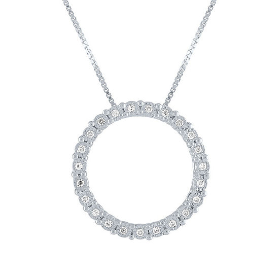 Womens 1 10 Ct Tw Genuine White Diamond Sterling Silver Pendant Necklace