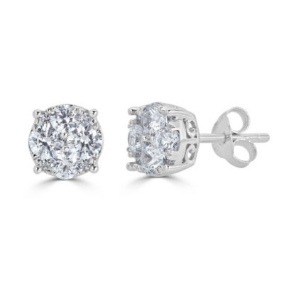 1/2 CT. T.W. White Diamond 14K White Gold 5.5mm Stud Earrings