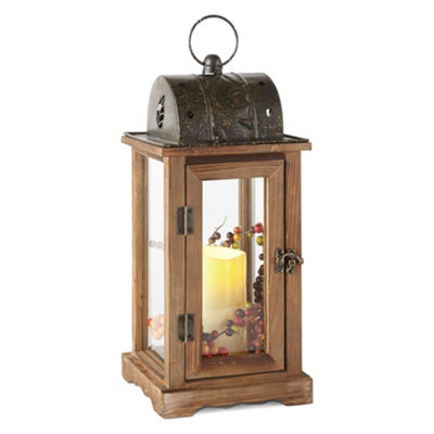 JCPenney Home Harvets Wood Led Decorative Lantern
