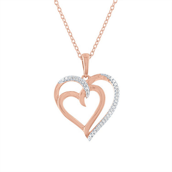 """To The Moon & Back"" Womens Diamond Accent Genuine White Diamond 14K Rose Gold Over Silver Heart Pendant Necklace"