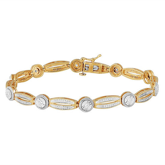1/2 CT. T.W. Genuine White Diamond 14K Gold Over Silver Tennis Bracelet