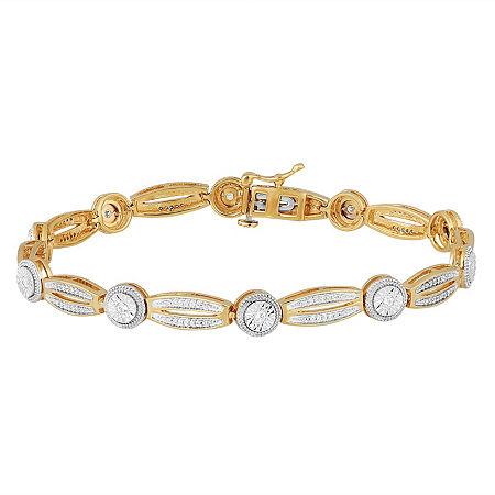 1/2 CT. T.W. Genuine White Diamond 14K Gold Over Silver Tennis Bracelet, One Size