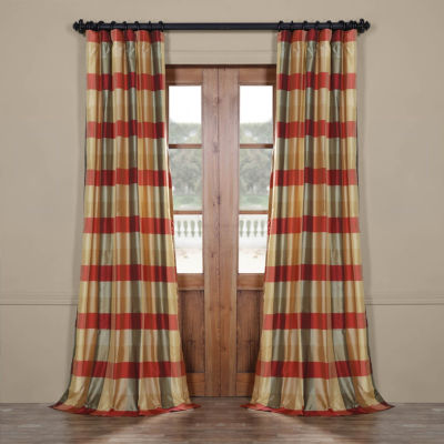 Exclusive Fabrics & Furnishing Manor Faux Silk Plaid Rod-Pocket/Back-Tab Curtain Panel
