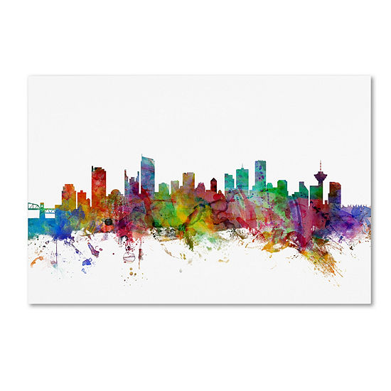 Trademark Fine Art Michael Tompsett Vancouver Canada Skyline by Michael Tompsett Graphic Art on Wrapped Canvas Giclee Canvas Art