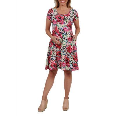 24Seven Comfort Apparel Laura Floral Maternity Mini Dress