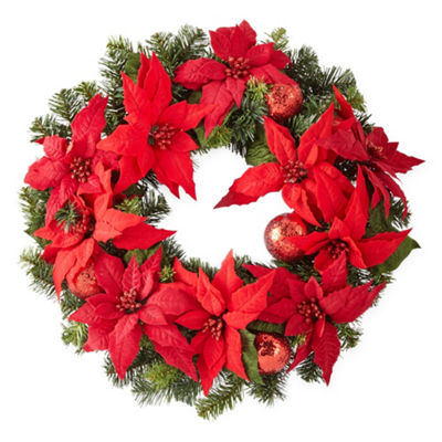 North Pole Trading Co. Poinsettia Christmas Wreath