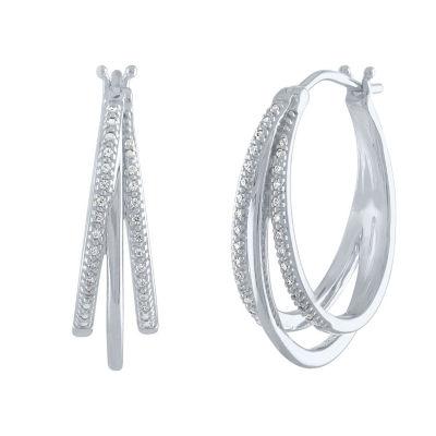 1/10 CT. T.W. Genuine White Diamond Sterling Silver 23.9mm Hoop Earrings