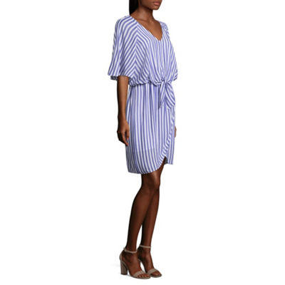 Belle + Sky Elbow Sleeve Stripe Wrap Dress