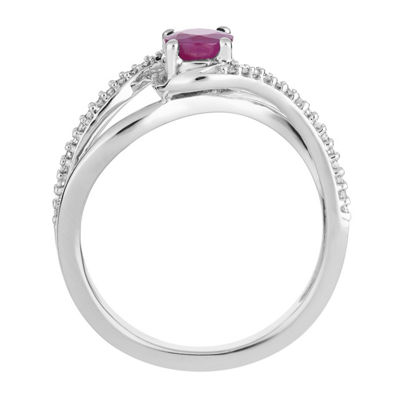Womens 1/8 CT. T.W. Lead Glass-Filled Red Ruby 10K White Gold Cocktail Ring