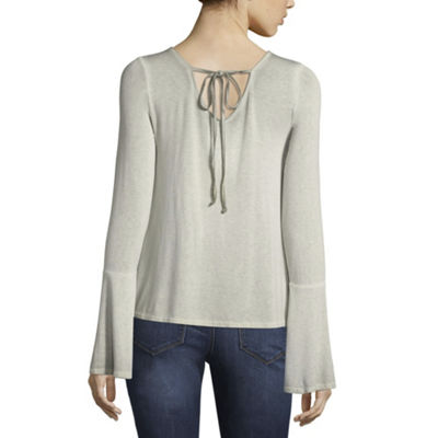 Arizona Long Sleeve V Neck Knit Blouse-Juniors