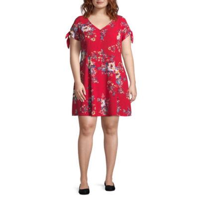 Arizona Short Sleeve Floral Fit & Flare Dress-Juniors Plus
