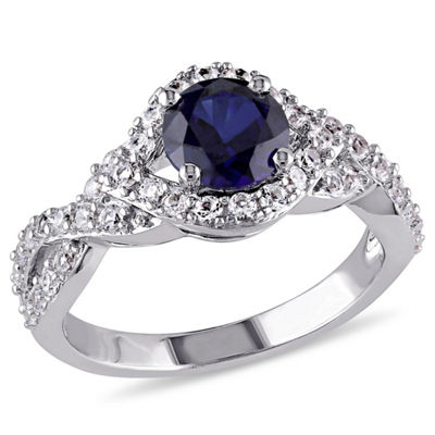 Modern Bride Gemstone Womens Lab Created Blue Sapphire Sterling Silver Engagement Ring