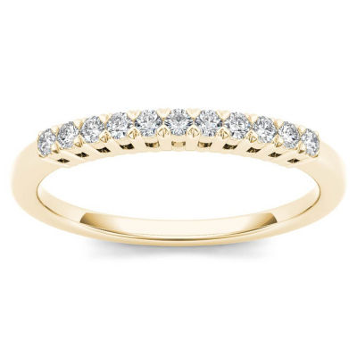 Womens 2 Mm 1/5 CT. T.W. Genuine White Diamond 10K Gold Wedding Band