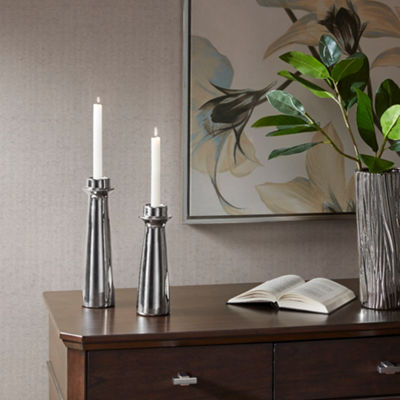 Madison Park Signature Bolton Ceramic Candle Holder Set Of 2