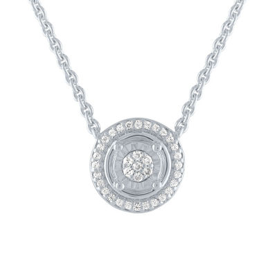 Womens 1/10 CT. T.W. Diamond Sterling Silver Pendant Necklace