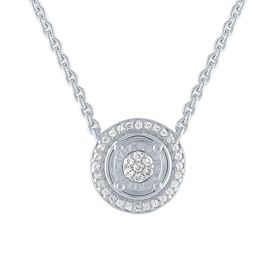 Womens 1/10 CT. T.W. Genuine Diamond Sterling Silver Round Pendant Necklace