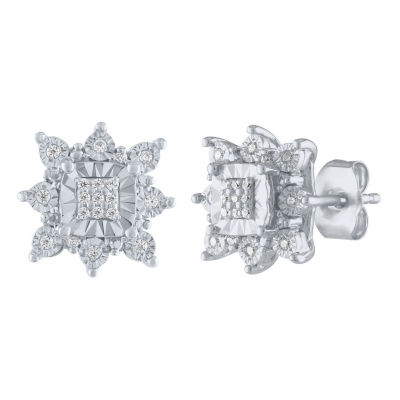 1/10 CT. T.W. Genuine White Diamond Sterling Silver 10.5mm Stud Earrings