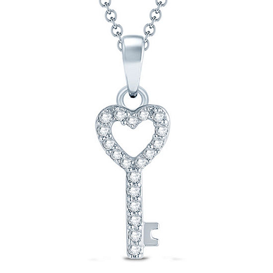 Womens 1/10 CT. T.W. Genuine White Diamond 10K Gold Pendant Necklace