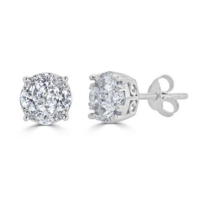 3/4 CT. T.W. White Diamond 14K White Gold 6.4mm Stud Earrings