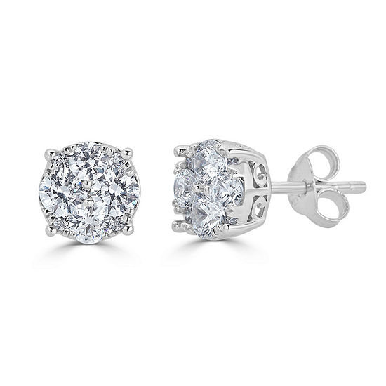 3/4 CT. T.W. Genuine White Diamond 14K White Gold 6.4mm Stud Earrings