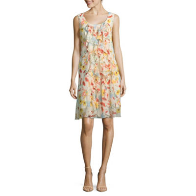 Robbie Bee Sleeveless Floral A-Line Dress-Petite
