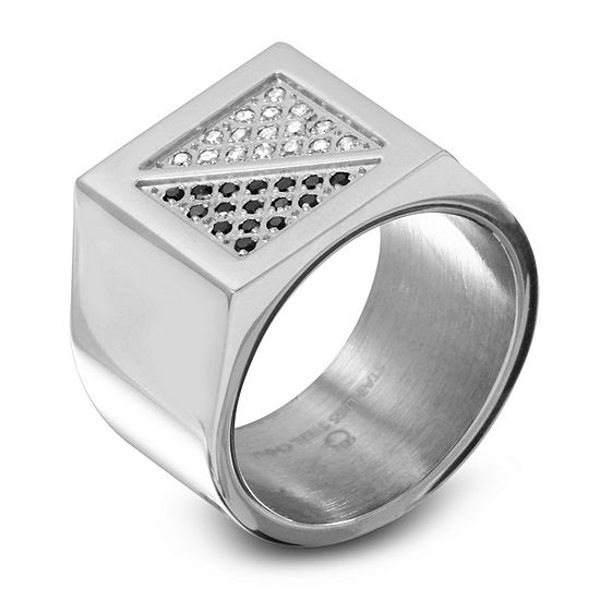 Mens 1/4 CT. T.W. Black Stainless Steel Fashion Ring