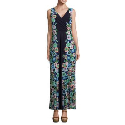 London Times Sleeveless Floral Maxi Dress-Petites