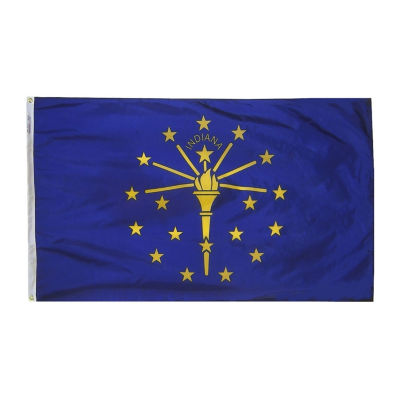 Indiana State Flag 4x6 ft. Nylon SolarGuard Nyl-Glo 100% Made in USA to Official State Design Specifications by Annin Flagmakers.  Model 141670
