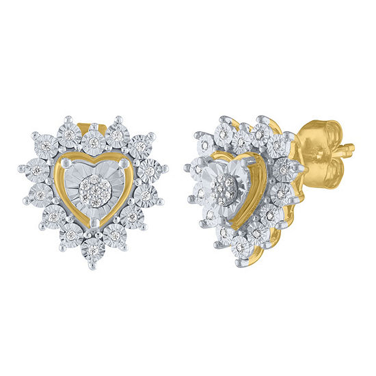 1/10 CT. T.W. Genuine White Diamond 14K Gold Over Silver Sterling Silver 12mm Heart Stud Earrings